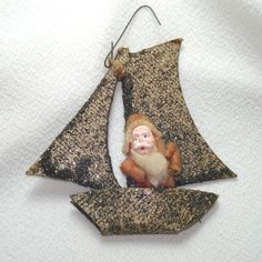 Cotton Batting Santa Claus in Mica Sailboat Christmas Ornament Antique Christmas Ornaments, Vintage Ornaments, Primitive Christmas, Christmas Stockings, Merry Christmas To All, Christmas Items, Simple Christmas, Santa Claus Figure, Feather Tree