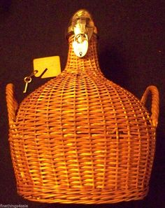 Search by seller - FineThings4sale - vintage family estate items.  RARE 1899 VICTORIAN WICKER & STERLING BIRMINGHAM LIQUOR HUGE 3 QUART Sz DECANTER