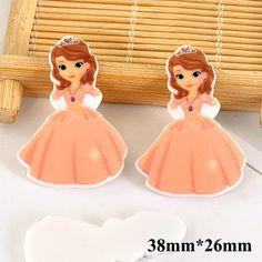 50pcs/lot 38MM*26MM Cartoon Princess Resin Flatback Dress Girl Planar Resin Hair Bow DIY Craft For Home Decorations DL663