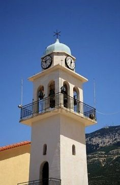 Clock Tower of a Church in Kefalonia Island