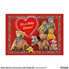 Baby Shower Invitation with Teddy Bears