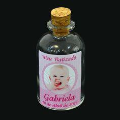 Lembrancinha de Batizado Garrafa 30ml c/ Foto Menina