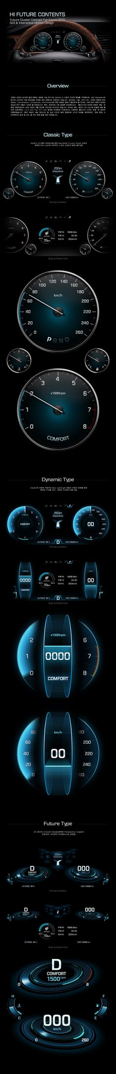 Hyundai Motors 'HI Future Cluster' Interface GUI & Motion Design