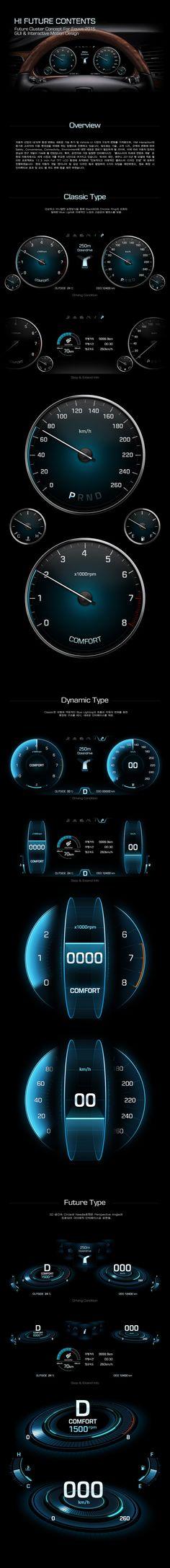 Hyundai Motors 'HI Future Cluster' Interface GUI & Motion Design