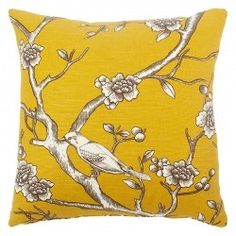 Golden Yellow Tree and Birds throw pillow