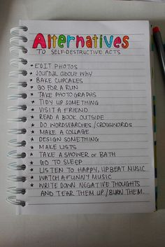 List of Alternatives to Self Harm