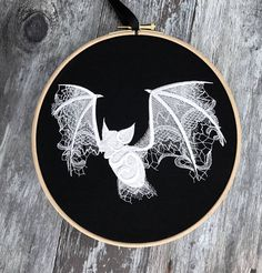 White lace ghost bat embroidery hoop art gothic embroidered