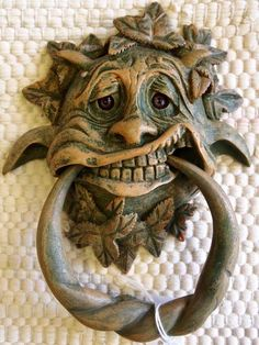 Gargoyle Door Knocker (Merry) Labyrinth Witch Fantasy Goblin Green Man Pagan I Door Knockers Unique, Door Knobs And Knockers, Cool Doors, Unique Doors, Antique Door Knobs, Porte Cochere, Door Accessories, Door Furniture, Door Locks