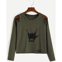 SheIn(sheinside) Army Green Gesture Print Distressed T-shirt (16 BAM) ❤ liked on Polyvore featuring tops, t-shirts, shirts, blusas, green, tee-shirt, destroyed t shirt, t shirt, stretch t shirt and green long sleeve shirt
