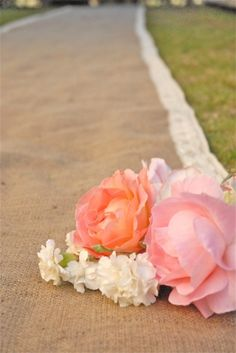 Burlap Aisle Runner With Crochet Lace -- Recycled Bride (40X20 - $65, 40X25 - $75, 40X35 - $85, etc.)
