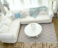 Diy Dropcloth Slipcovers   Going To Do This For The Basement Sofa, But With  Colorful Cotton Saris Instead Of Drop Cloths!