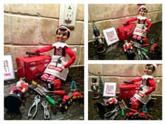 Elf on the Shelf Ideas. Elf making Christmas toys with his elf tools. To view more pins like this one, search for Pinterest user amywelsh18.