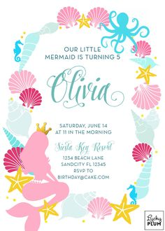 Free Mermaid Under the Sea Invitation template to download Step by