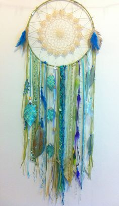 Huge Sparkling Mermaid #Dreamcatcher with sea grass, feathers and FREE SHIPPING. 150.00, via Etsy.