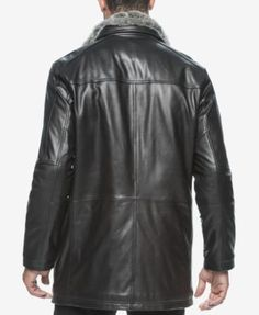 Marc New York Men's Middlebury Leather Coat with Fur Collar - Black S