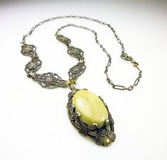 Art Deco Necklace Sterling Silver Marcasite Agate by zephyrvintage, $125.00