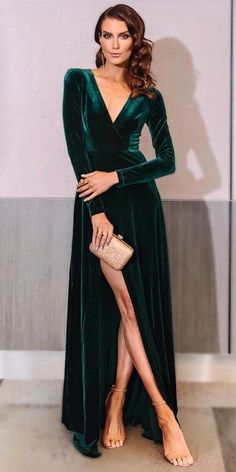 c929765900 winter wedding guest dresses long with sleeves green slit ellezeitoune  designs Christmas Wedding Guest Outfits