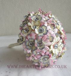 Wedding Bridal Flower & Button Bouquet with Buttonhole Pink and Silver Sparkle