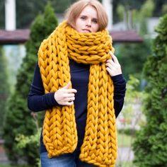 Saffron super chunky XXL merino wool scarf Chunky Knit Scarves, Chunky Wool, Sweater Scarf, Wool Scarf, Super Chunky Yarn, Knitting Designs, Knitted Hats, Women Wear, Trending Outfits