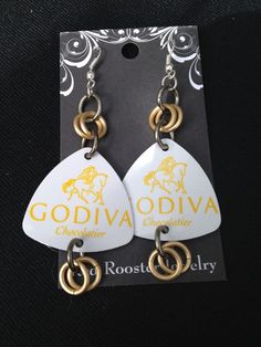 Godiva chocolate lover earrings recycled gift by RedRoosterJewelry
