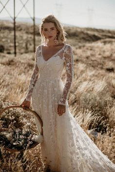 Polka Dot Long Sleeve Boho Wedding Dresses Lace Bohemian Backless Wedding Gowns - New ideas Romantic Bohemian Wedding Dresses, Western Wedding Dresses, Sexy Wedding Dresses, Bridal Dresses, Maxi Dresses, Bohemian Bride, Bohemian Weddings, Long Sleeve Wedding Dress Boho, Unique Weddings