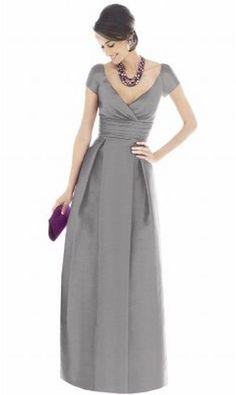 Alfred Sung Cap Sleeve Long Bridesmaid Dress with Pockets D501 - i would love this in ivory for my wedding dress for sure