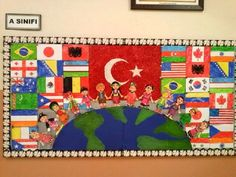 international themed murals for schools ile ilgili görsel sonucu World Bulletin Board, Art Bulletin Boards, Around The World Theme, We Are The World, Class Decoration, School Decorations, Lessons For Kids, Art Lessons, United Nations Day