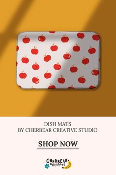 Apples Dish Mat by Cherbear Creative Studio Design Textile, Fabric Design, Pattern Design, Sustainable Living, Sustainable Fashion, Eco Friendly House, Etsy Business, Marketing, Creative Studio