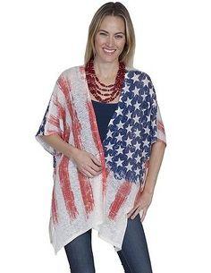 Scully Western Cardigan Womens Patriotic Flag Lightweight Classy HC262