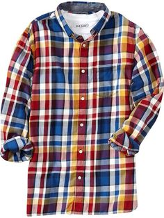 Old Navy | Men's Plaid Twill Regular-Fit Shirts