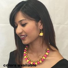 colors available Silk Thread Necklace, Thread Jewellery, Club Outfits For Women, Trendy Clothes For Women, Long Tassel Earrings, Drop Earrings, Necklace Set, Jewelry Sets, Lehenga