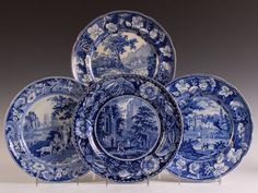FOUR HISTORICAL STAFFORDSHIRE BLUE PLATES :