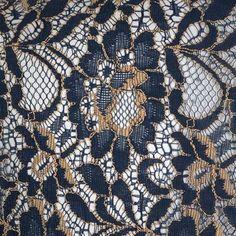 Kanten bolero met bloemen motief en lange mouwen donker blauw/goud - Vintage, 50's, Rockabilly