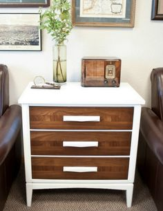 Great update to an outdated thrift store small chest, side table. Two tone chic. [Mr. Goodwill Hunting]: thrifty transformations..