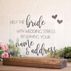 Name & Address Bridal Shower Sign
