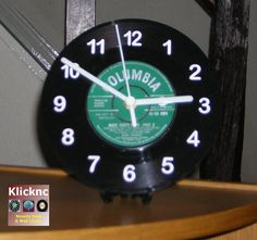 1958 Green Columbia Vinyl Desk or Wall Clock