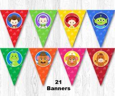 Toy Story cumpleaños Banner, Toy Story cumpleaños fiesta Banner, Banner de historia del juguete, juguete historia del empavesado