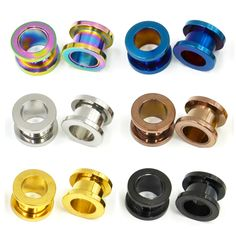 Colorful Anodized Stainless Steel Screw Fit Ear Flesh Tunnel Earring Plug Expander Body Jewelry Piercing Earlet Gauges
