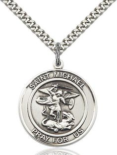 3//4 tall Scholastica Medal in Fine Pewter 18 Rhodium Plated Clasp Chain St