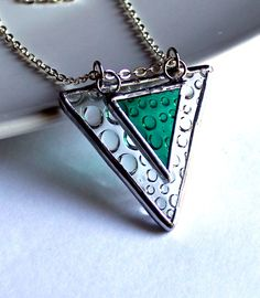 Triangle Raindrops - Stained Glass Jewelry Necklace. $27.00, via Etsy.