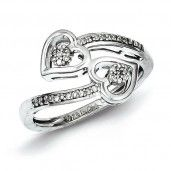 Sterling Silver Diamond Heart Ring - Promise Ring