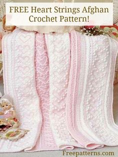 Free Heart Strings Afghan Crochet Pattern -- Download this free crochet baby blanket pattern from FreePatterns.com!