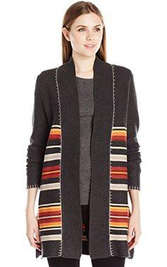 Pendleton Women's Park Stripe Cardigan Sweater, Charcoal Heather Multi, X-Small ❤ Pendleton Women's Collection