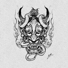 Moon Star Tattoo, Star Tattoos, Black Tattoos, Sleeve Tattoos, Japan Tattoo Design, Japanese Tattoo Designs, Tattoo Designs Men, Oni Tattoo, Dark Art Tattoo