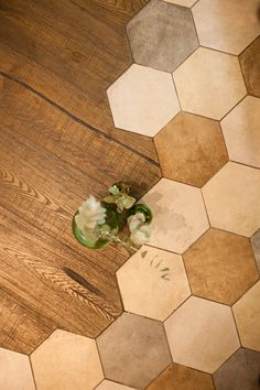 Hexagon tile  and vintage wood floor,