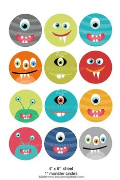 Printable 1 inch Digital Circle Collage Sheet Monsters 4 x 6 inch on Etsy, $3.70 CAD