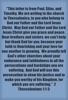This letter is from Paul, Silas, and Timothy. We are writing to the church in Thessalonica, to you who belong to God our Father and the Lord Jesus…