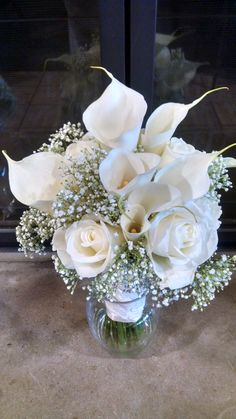 Loved it! Pinned it! A Blooming Envy Design! Bouquet with Calla Lilies, White Roses, Baby's Breath