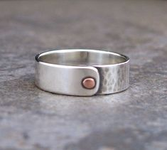 Men's Copper Riveted Sterling Silver Ring