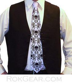 RokGear Damask skull necktie Men Skull tie